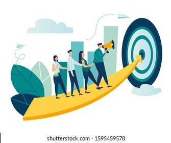 Vector illustration of people go team one after another to their goal, to move up the motivation. Path to the goal.
