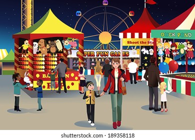 A vector illustration of people going to summer night outdoor fair