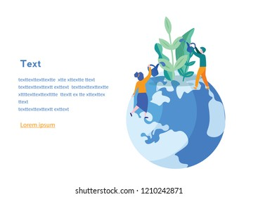 Vector illustration. people grow plants, doing farming job - watering, gathering, planting, World Environment Day, Bio Technology, green planet, globe with trees growing on it, ecology, co system.