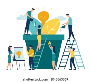 vector illustration. people grow potted plants, a metaphor for the birth of a creative idea. business concept analysis. graphic design idea of project activity