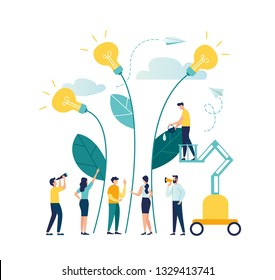 vector illustration. people grow potted plants, a metaphor for the birth of a creative idea. business concept analysis. graphic design idea of project activity - Vector - Vector