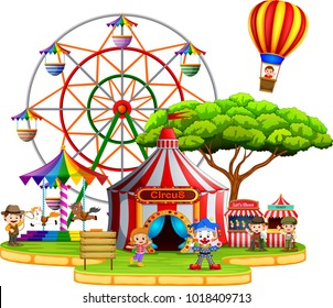 vector illustration of People having fun in circus