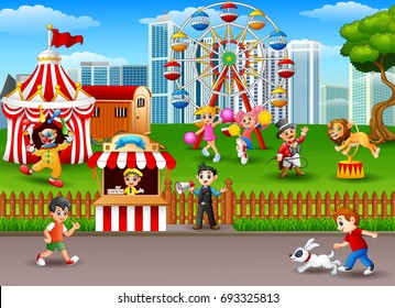 Vector illustration of People having fun at the amusement park
