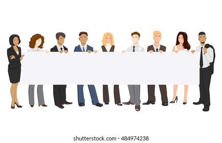 Vector illustration of people holding a banner in his hands.