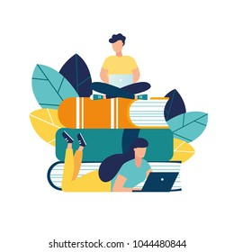 vector illustration people learn and gain knowledge. The creative design of the schedule students learn on books. stylish vector for posters, banners, websites, booklets, flyers, cards