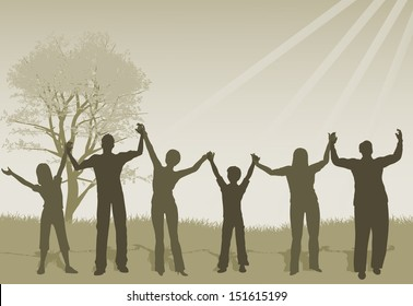 Vector illustration of People Lifting Hands in Praise