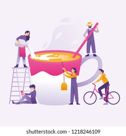 vector illustration people making coffee/tea and eggnog concept, group of people make tea/coffee together, and the girl pouring milk