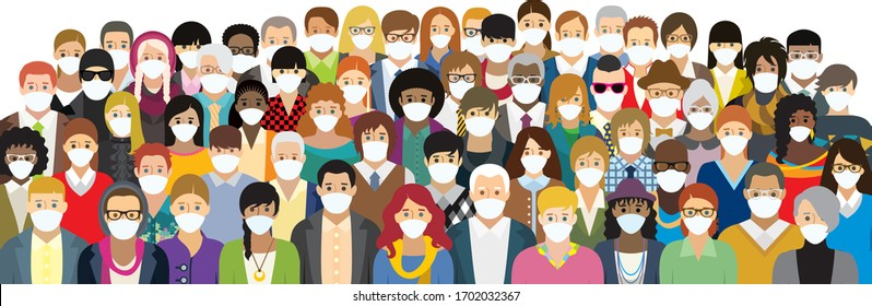 Vector illustration of people in medical face masks. Each character is individual and is not repeated in the illustration.