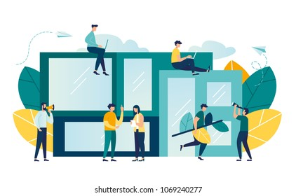 vector illustration of people and modern house. modular smart home vector