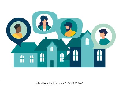 Vector illustration, people on self-isolation communicate through social networks, support and sociability
