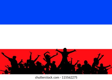 Vector Illustration of people partying on the flag of Yugoslavia