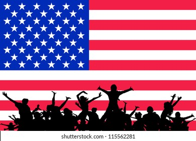 Vector Illustration of people partying on the flag of United States of America