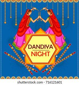 vector illustration of people performing Garba dance on poster banner design for Dandiya Night