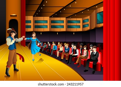 A vector illustration of people performing on a stage