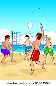 Vector illustration of people playing beach volleyball