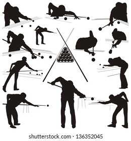 Vector illustration of the people playing in the billiards