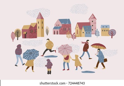Vector illustration of people in the rain. Autumn mood. Trendy retro style.