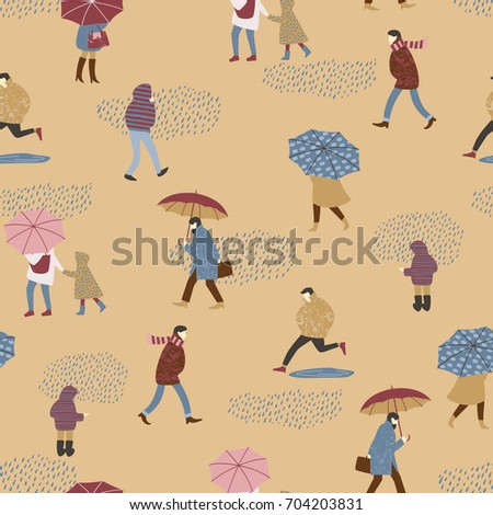 Vector illustration of people in the rain. Autumn mood. Trendy retro style. Seamless pattern.