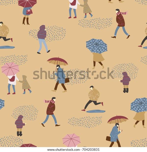 Vector illustration of people in the rain. Autumn mood. Trendy retro style. Seamless pattern.