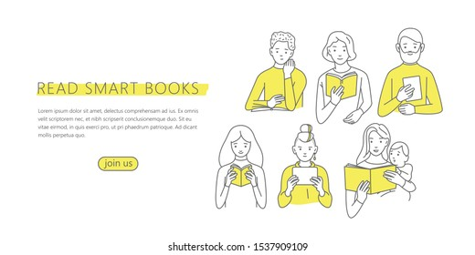 Vector illustration of a people reading a book in a trendy minimalistic style. Banner, flyer or landing page template. World book day or international literacy day.