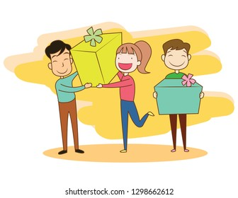 Vector Illustration people receive gift boxes. They are happy and smiling