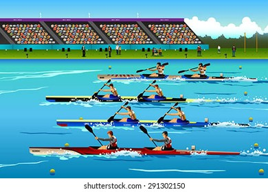 A vector illustration of People riding canoe in river for sport competition series