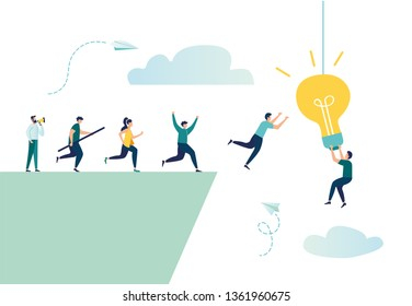 vector illustration, people run over a cliff, trying to get an idea, incentive to win