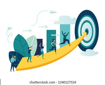 Vector illustration, people run to their goal on the column of columns, move up motivation, the path to the target's achievement