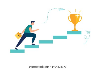 Vector illustration, people run to their goal on the column of columns, move up motivation, the path to the target's achievement - Vector - Vector