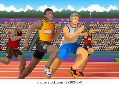 A vector illustration of people running in a race for  sport competition series