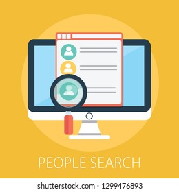 "Vector illustration of people search & recruitment concept with ""people search"" hiring employee symbol. job search icon."