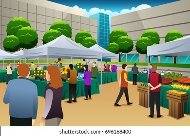 A vector illustration of People Shopping in Farmers Market