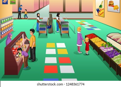 A vector illustration of People Shopping in Grocery Store
