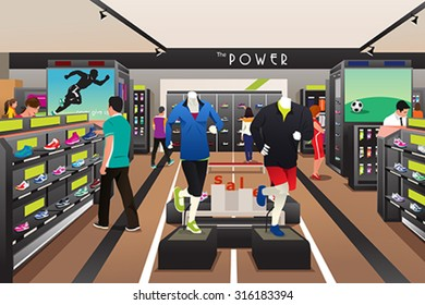 A vector illustration of people shopping for shoes in a sporting store
