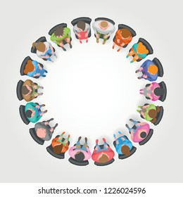 Vector illustration. People sit in a circle. Top view. Different men and women are sitting in chairs. View from above.
