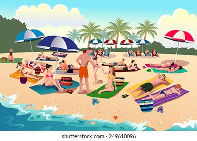 A vector illustration of people sunbathing on the beach