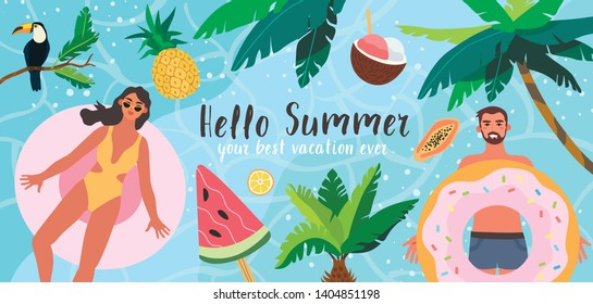 Vector illustration of people sunbathing and swimming in the sea or ocean. Sea vacation on a troical island in an exotic place. Summer banner, flyer landing page for a tour operator or travel agency.