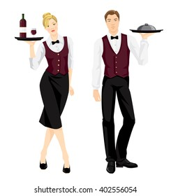 Vector illustration of people waiter in formal clothes isolated on white background.