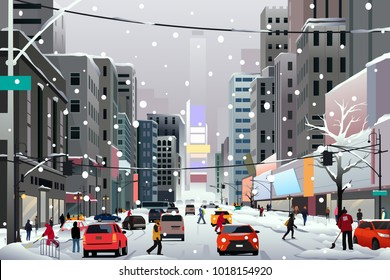 A vector illustration of People Walking in the City During Winter Storm