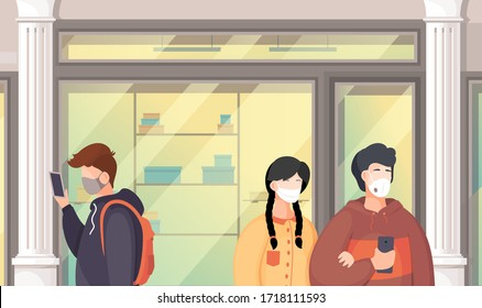 Vector illustration of people wering medical masks during viral pandemia in public place. People break rules of self-isolation walking to shopping mall. People protect themselves with medical masks