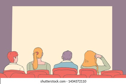 Vector illustration of people who sit in theater chairs and watch movies or spectacle in hand drawn style. Watching drama. Viewers in dramatic theater of cinema. Template for playbill or poster.