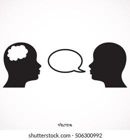 vector illustration two people talk face のベクター画像素材
