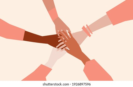 Vector illustration of people's hands with different skin color together. Minimal flat style.