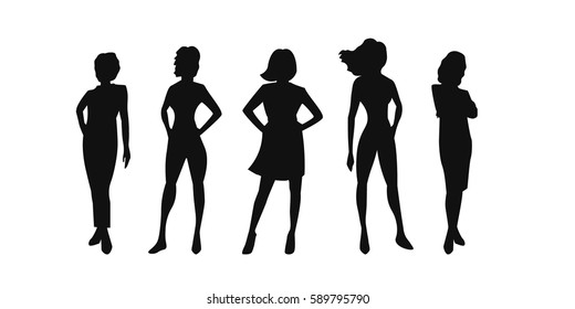 Vector illustration of people's (male and female) silhouettes on white background.
