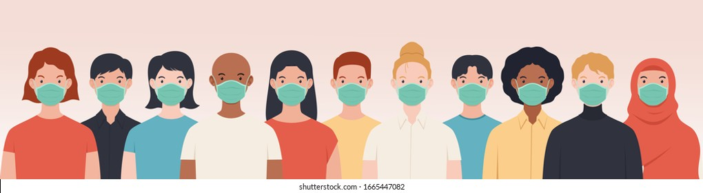 Vector illustration peoples wearing medical mask