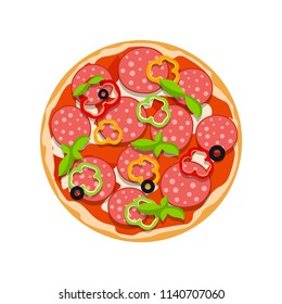 vector illustration of pepperoni pizza