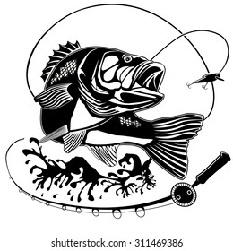 Vector illustration of perch fish and fishing rod. Vector illustration can be used for creating logos and emblems for fishing clubs, prints, web and other crafts.