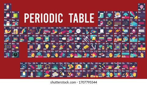 Vector Illustration of Periodic table and Symbol example graphic explain