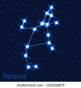 Vector illustration of Perseus constellation. Cluster of realistic stars in the dark blue starry sky.