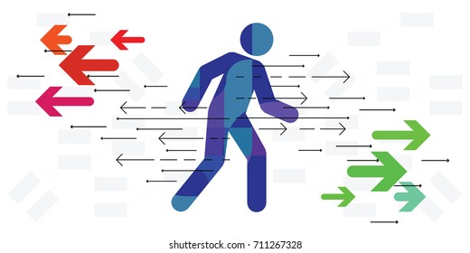 vector illustration of person moving back and forth visualized with red and green arrows for possible directions concept